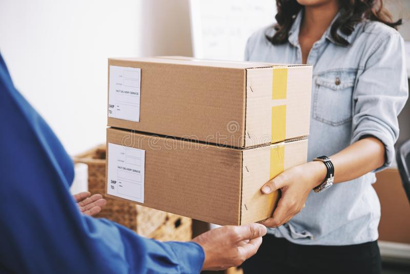 Take these boxes stock image