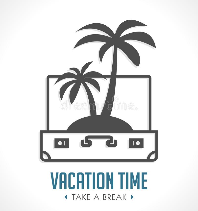 Vacation time - travel suitcase concept - travel =. Vacation time - travel suitcase concept - travel bag stock illustration