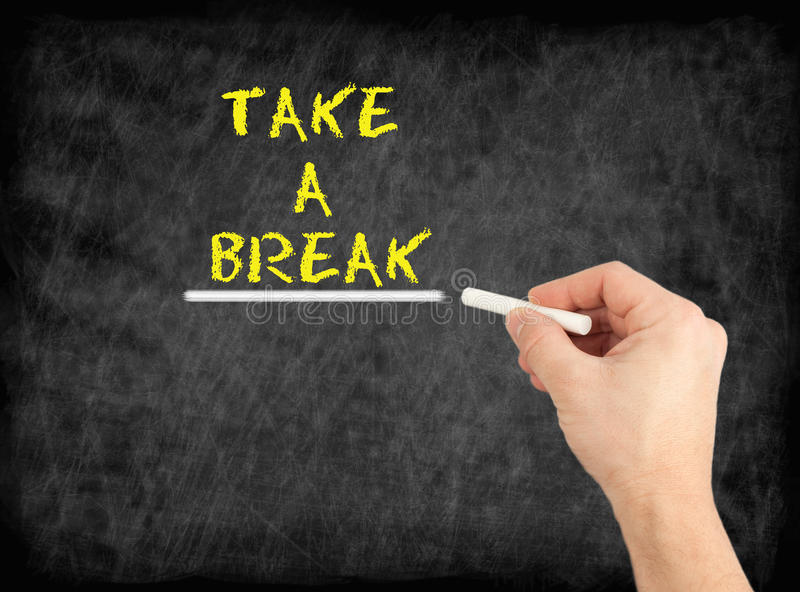 Take a Break - hand writing text on chalkboard royalty free stock photos