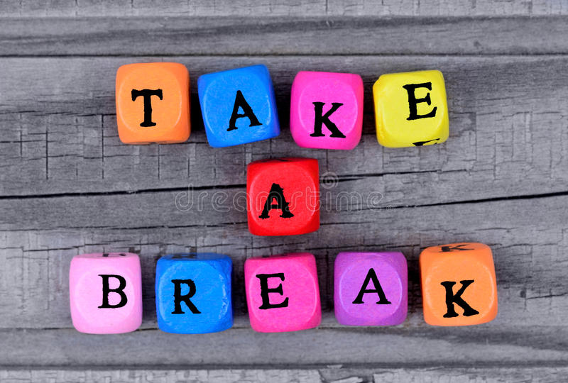 Take a break words on table royalty free stock images