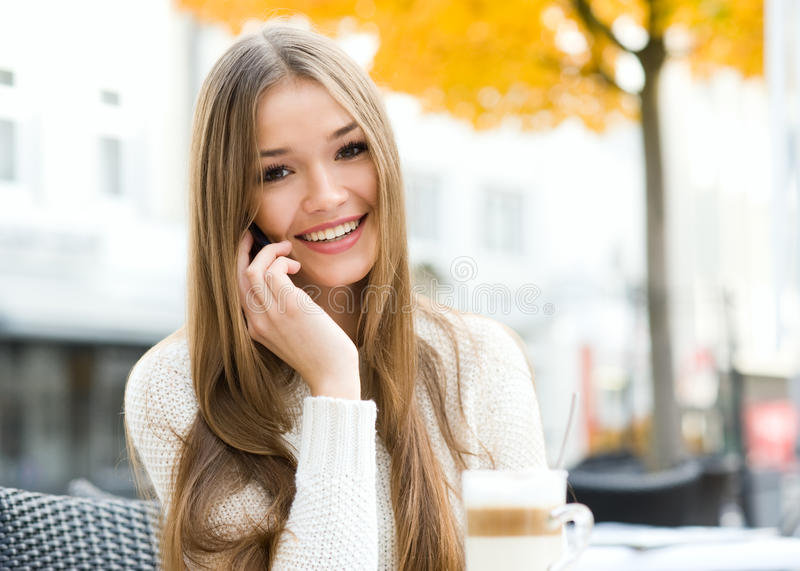 Download Take a call stock image. Image of cafe, beauty, person - 27699789