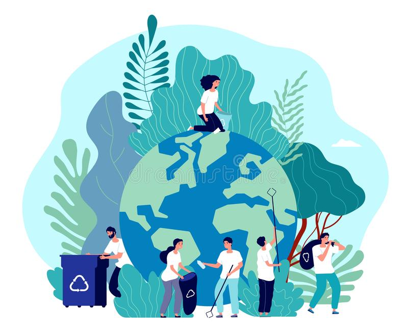 Take care of earth. Environmental protection, people saving planet, green energy ecosystem, volunteer ecologists, flat vector illustration