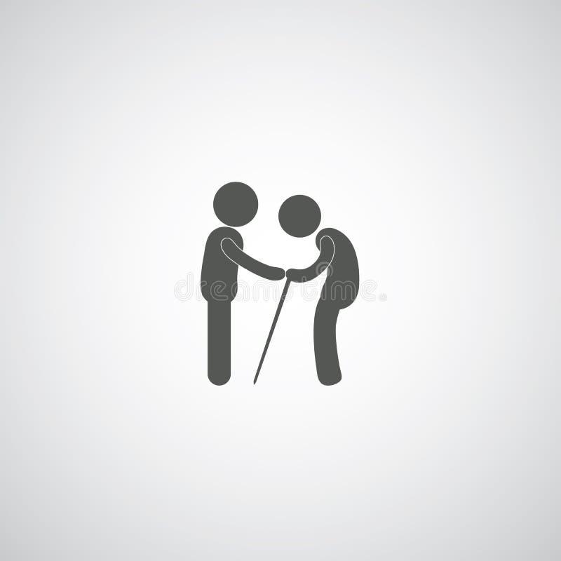Take care elder symbol. On gray background stock illustration