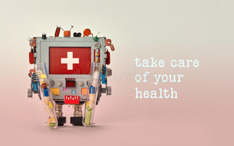 Take care of your health advertisement template poster. Medical first aid robotic monitor red display. Friendly toy royalty free stock images