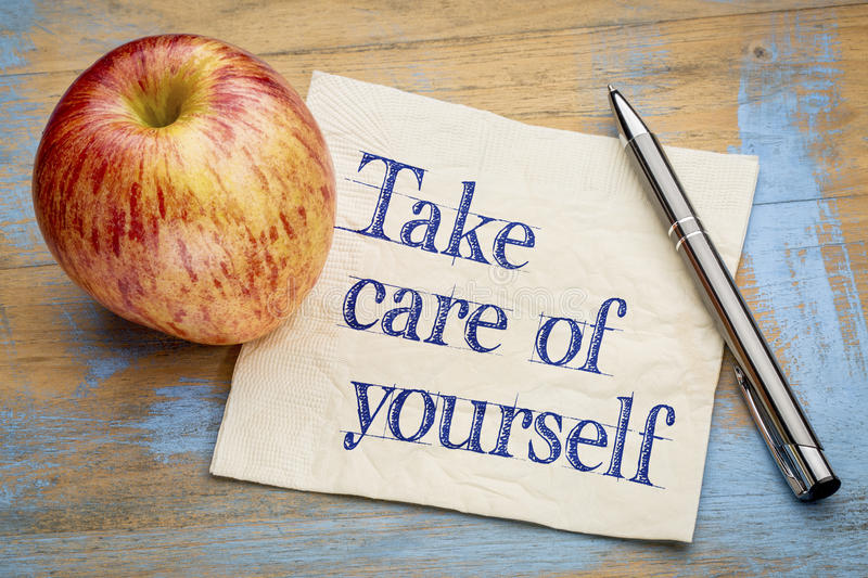 Take care of yourself advice stock image