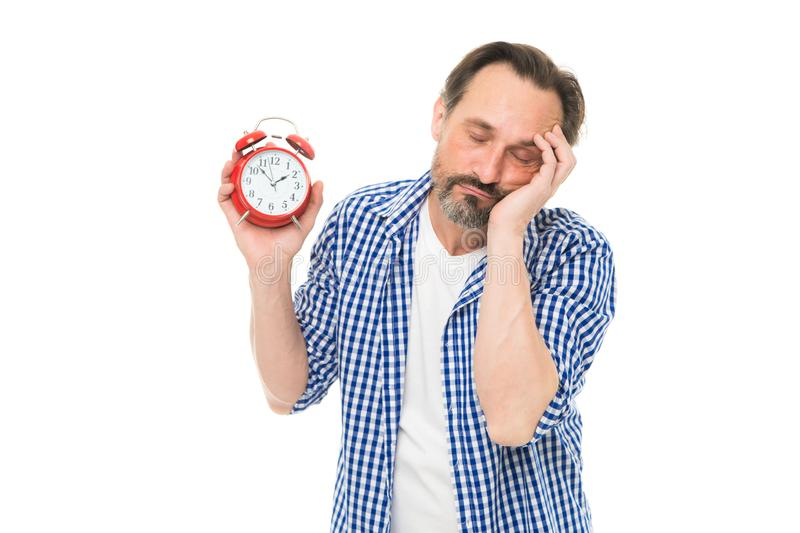 Take control of time. Self discipline concept. How to avoid being late. Being late is habit. Figure out why you are. Always late. Man bearded mature guy hold stock photos
