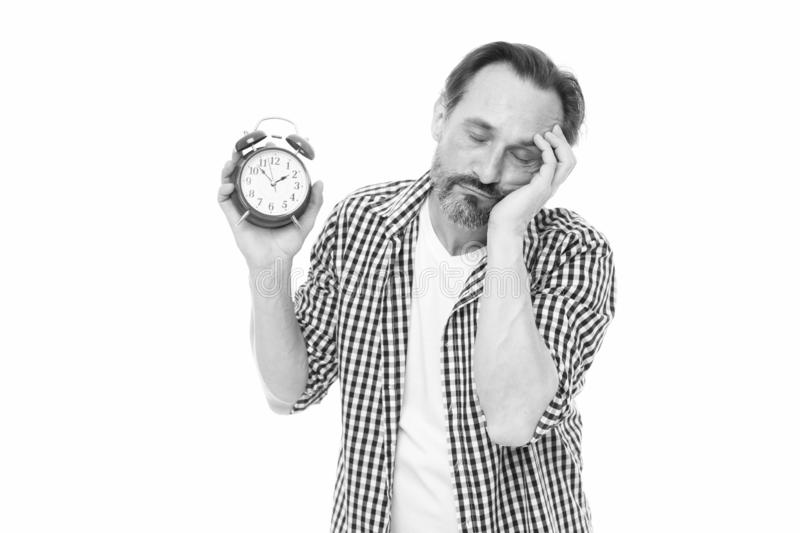 Take control of time. Self discipline concept. How to avoid being late. Being late is habit. Figure out why you are. Always late. Man bearded mature guy hold royalty free stock photo