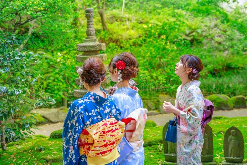 Take-dera kimono women royalty free stock photo