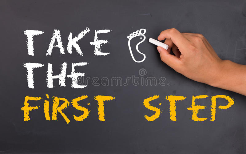 Take the first step stock photos