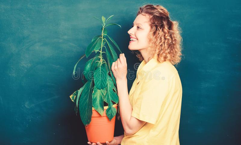 Take good care plants. Florist concept. Botany is about plants flowers and herbs. Girl hold plant in pot. Plants that stock photography
