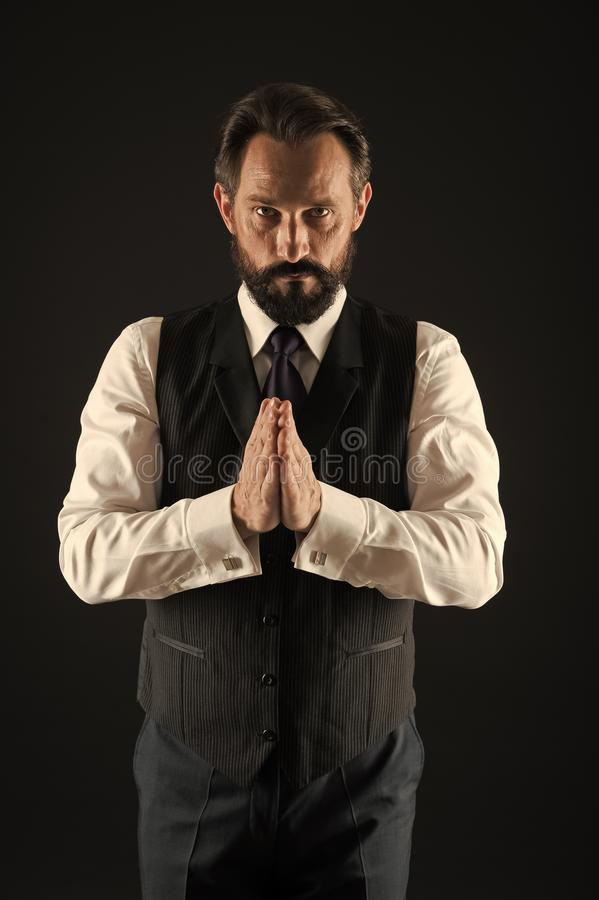 Take good care of your silhouette. How to dress for your age. Elegancy and male style. Classy style. Man bearded guy stock photo