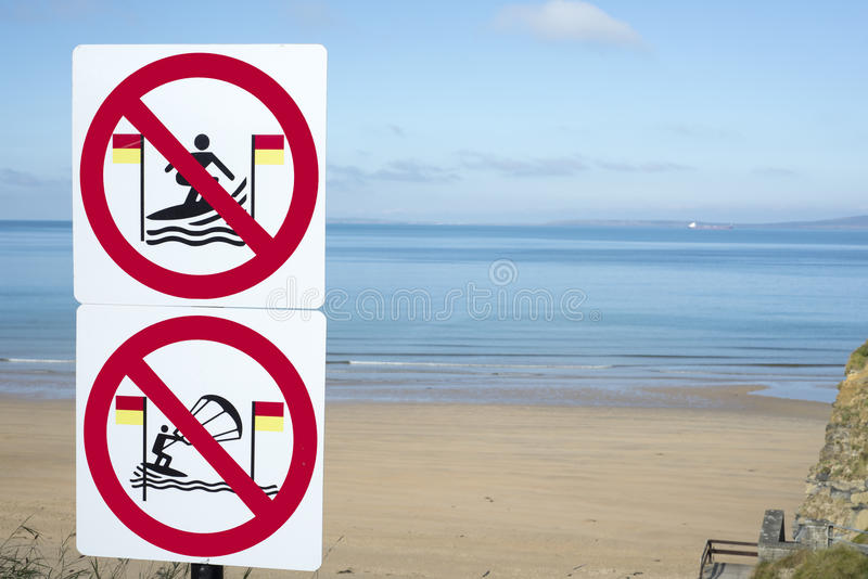 Take heed signs for surfers in ballybunion. Warning signs for surfers in ballybunion on the wild atlantic way in ireland stock photo