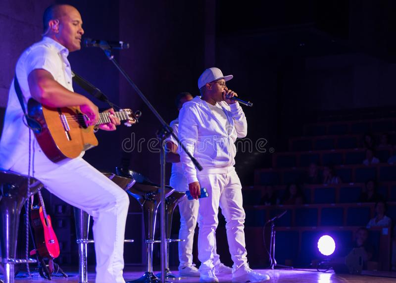 Take 6 live on stage of Auditorium Maximum UJ at the Summer Jazz Festival in Krakow. Cracow, Poland - July 8, 2018: Take 6 live on stage of Auditorium Maximum royalty free stock images