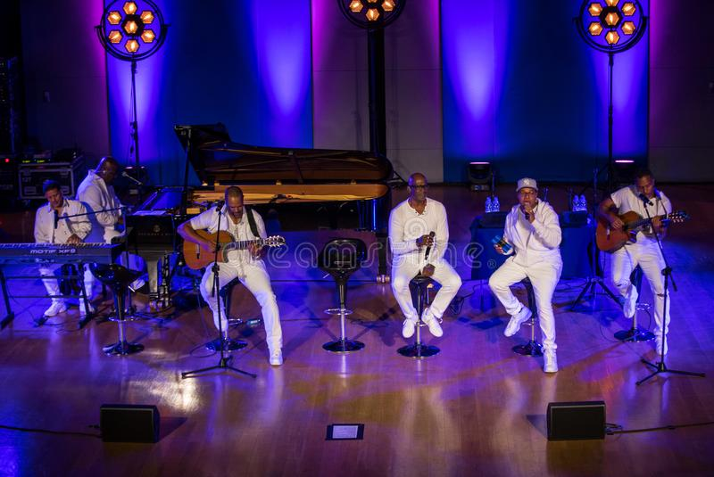 Take 6 live on stage of Auditorium Maximum UJ at the Summer Jazz Festival in Krakow. Cracow, Poland - July 8, 2018: Take 6 live on stage of Auditorium Maximum royalty free stock photo