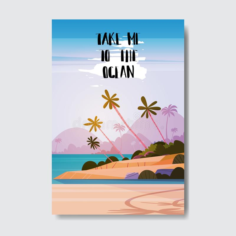 Take me to beach landscape palm tree badge Design Label. Season Holidays lettering for logo,Templates, invitation. Greeting card, prints and posters. vector royalty free illustration