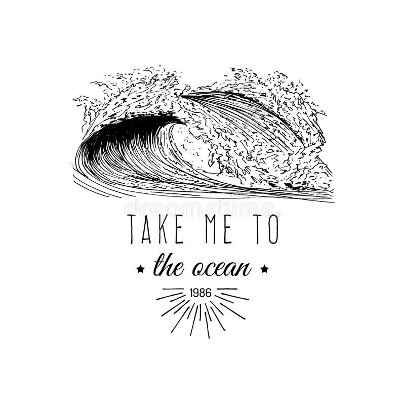 Take me to the ocean vector motivational quote banner. Inspirational poster with vintage surfing wave illustration. vector illustration