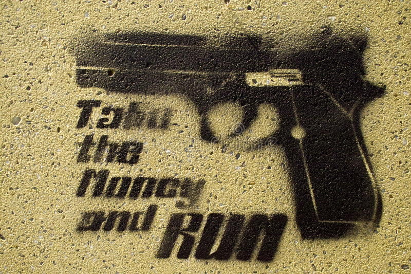 Take the money run. A black painting on a wall showing a pistol and the text take the money and run royalty free stock image
