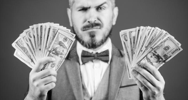 Take my money. Gain real money. Richness and wellbeing concept. Cash transaction business. Easy cash loan. Man formal royalty free stock images