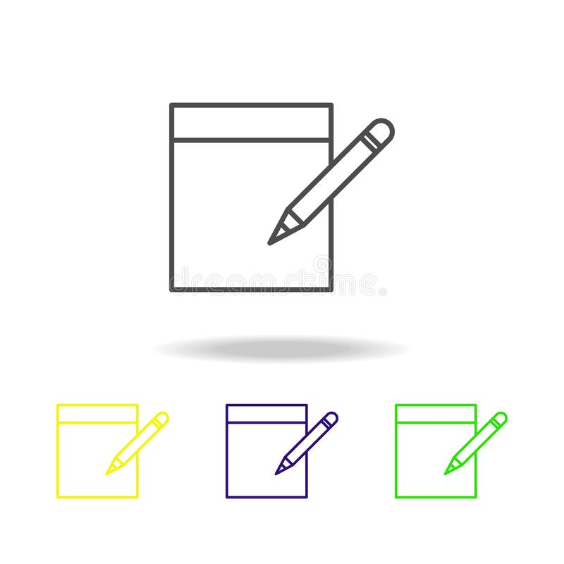 take notes on sheet multicolored icons. Element of journalism for mobile concept and web apps illustration. Can be used for web, stock illustration