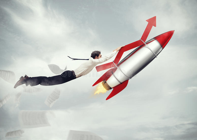 Take-off business success. 3D Rendering. Businessman flying attached to a missile with an arrow. take-off business success concept . 3D Rendering stock images