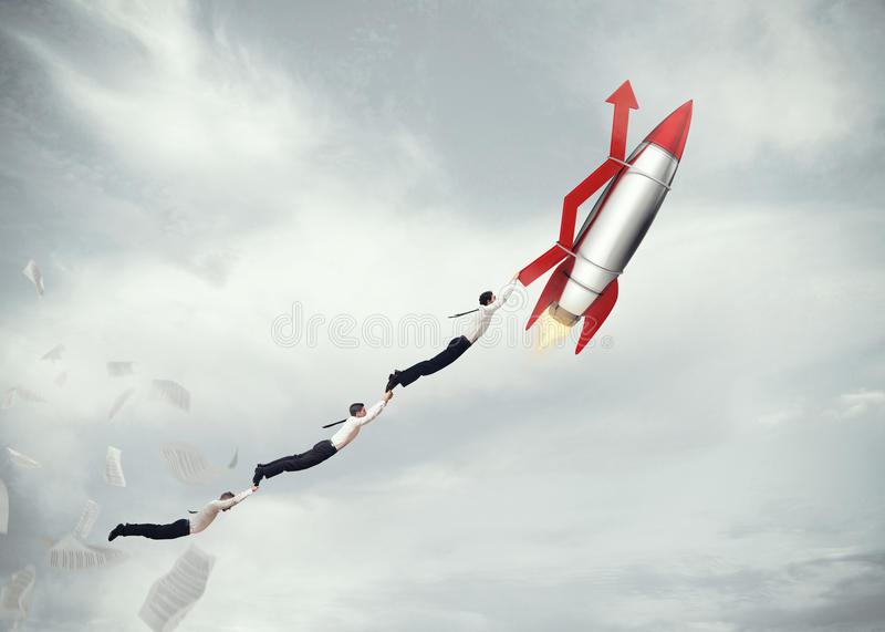Take-off business success. 3D Rendering. Businessmen flying attached to a missile with an arrow. take-off business success concept . 3D Rendering royalty free stock photography