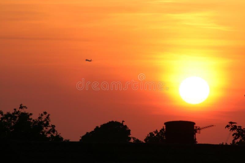 Take off at sunset royalty free stock photo
