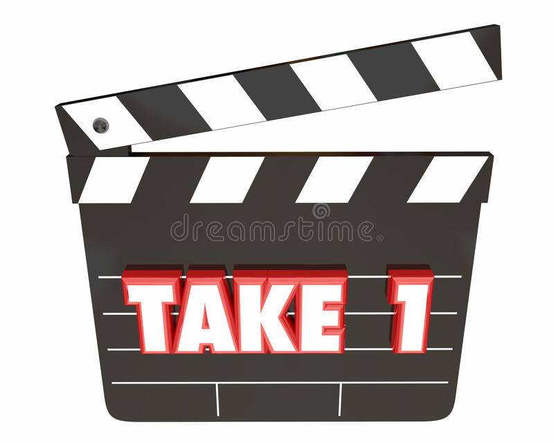 Take 1 One First Attempt Try Scene Movie Clapper Board vector illustration