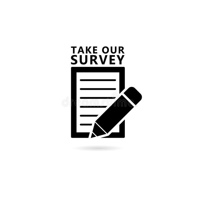 `Take our quick survey` icon. On white vector illustration
