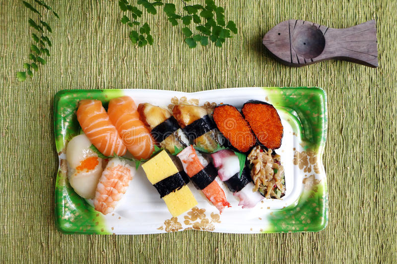 Take out assorted sushi platter royalty free stock photo