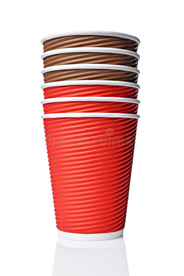 Take-out blank craft paper coffee brown and red cups royalty free stock photography