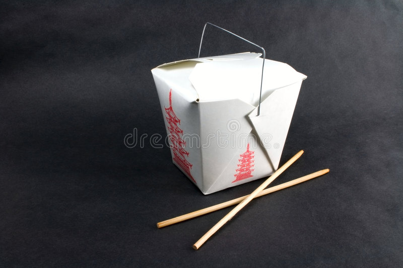 Take out closed. Chinese food in a take out container royalty free stock photos