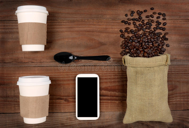 Take-Out-Coffee and Beans royalty free stock photos