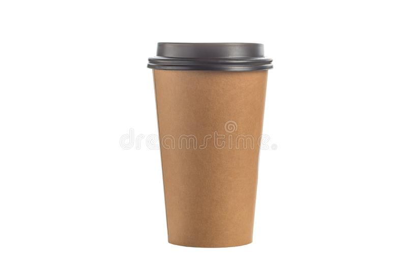 Take out coffee in brown thermo cup isolated on a white background. royalty free stock photo
