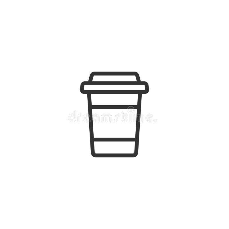 Take-out coffee with cap and cup holder. disposable cardboard cup of coffee. Paper container icon. stock illustration