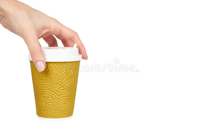 Take out coffee in thermo cup with hand. Isolated on a white background. Disposable container, hot beverage. copy space, template stock images
