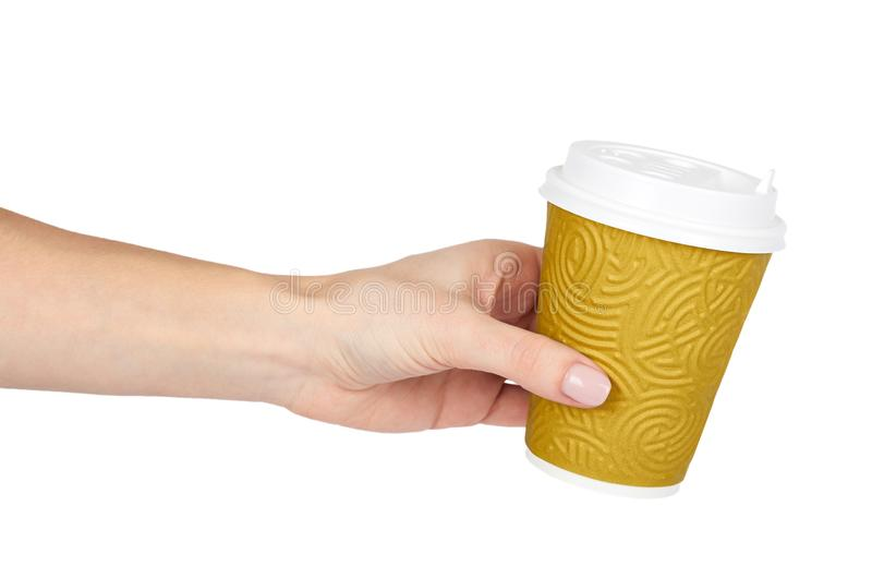 Take out coffee in thermo cup with hand. Isolated on a white background. Disposable container, hot beverage royalty free stock image