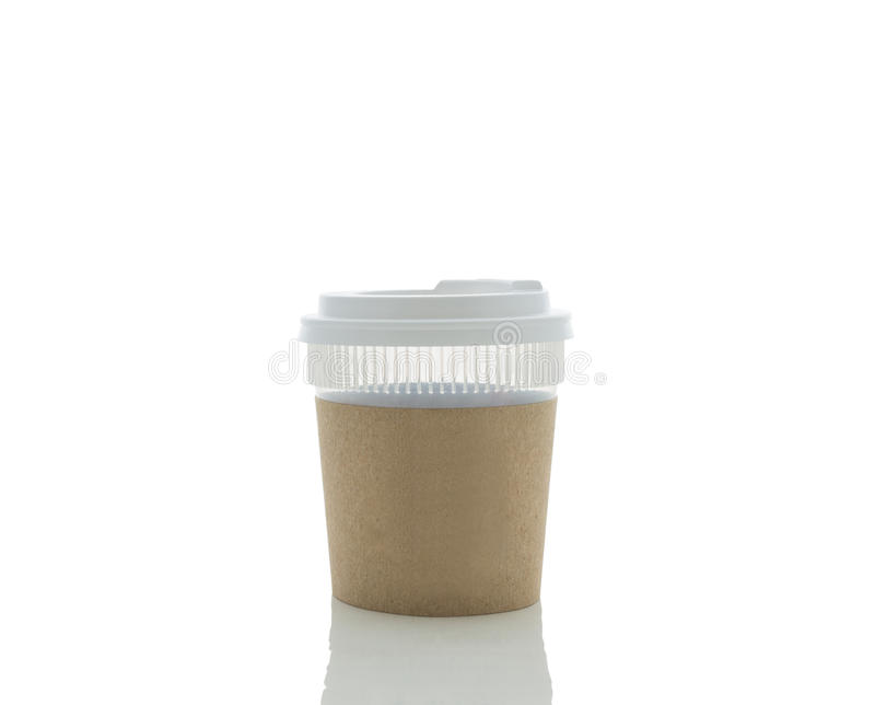 Take-out coffee in thermo cup. Isolated stock photography