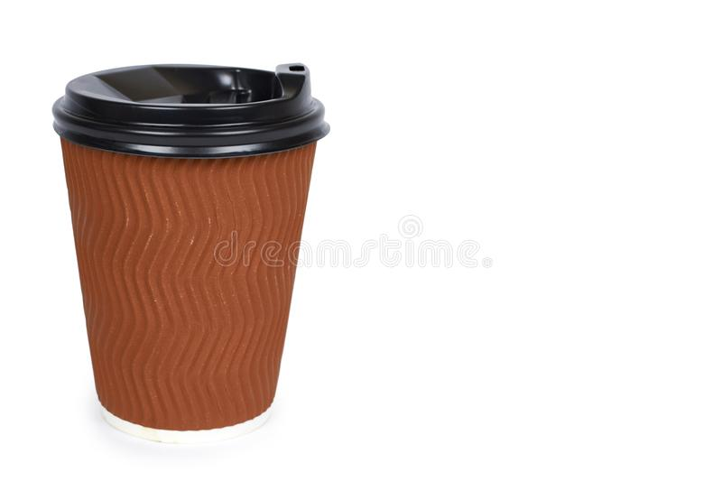 Take out coffee in thermo cup. Isolated on a white background. Disposable container, hot beverage. copy space, template stock image