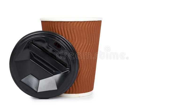 Take out coffee in thermo cup. Isolated on a white background. Disposable container, hot beverage. copy space, template royalty free stock images