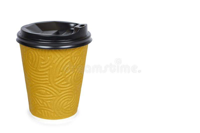Take out coffee in thermo cup. Isolated on a white background. Disposable container, hot beverage. copy space, template stock photography