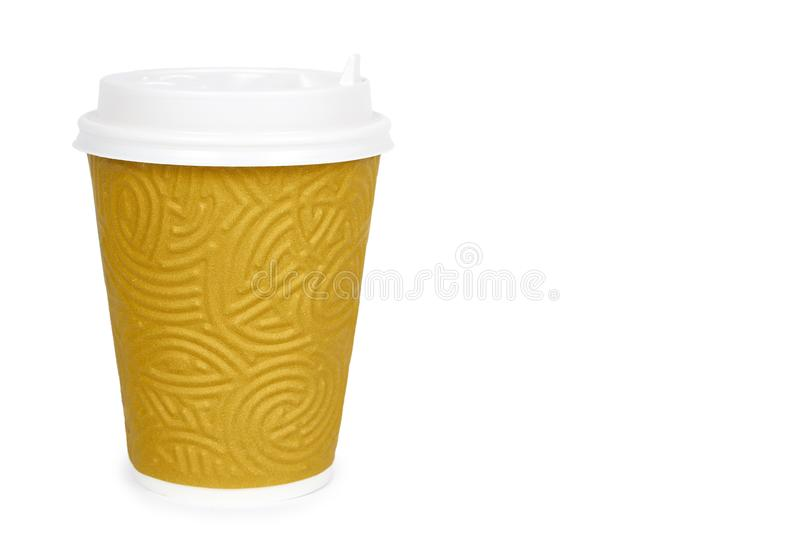 Take out coffee in thermo cup. Isolated on a white background. Disposable container, hot beverage. copy space, template royalty free stock photography