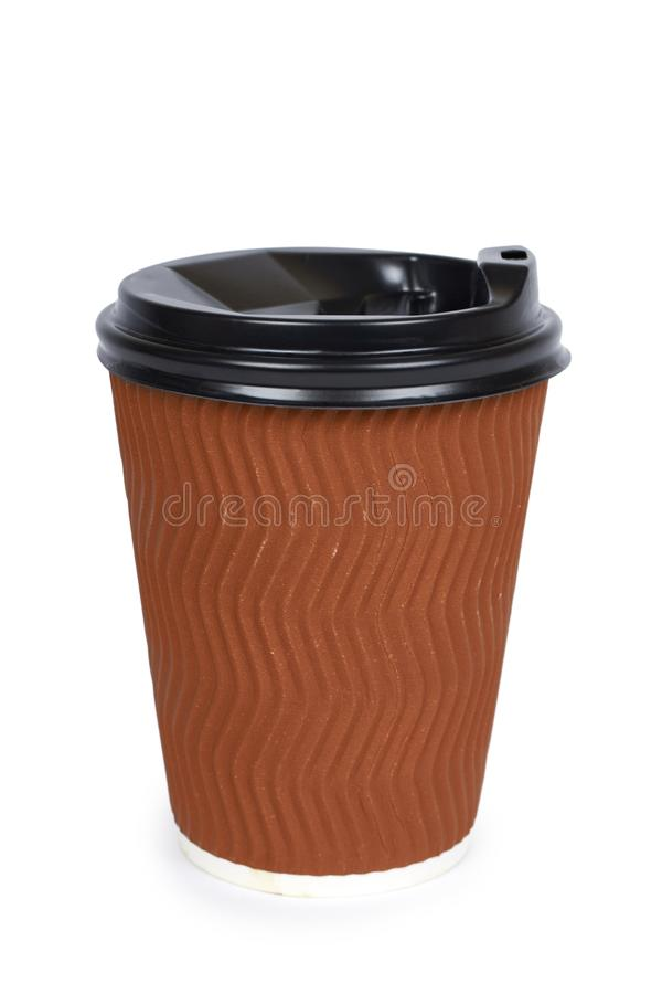 Take out coffee in thermo cup. Isolated on a white background. Disposable container, hot beverage royalty free stock photography