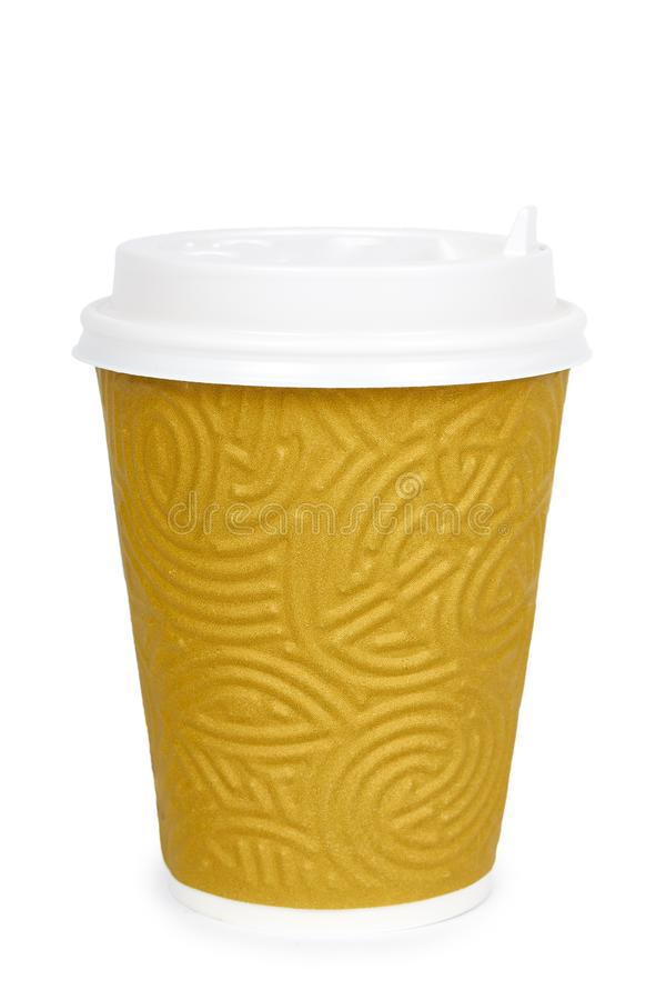 Take out coffee in thermo cup. Isolated on a white background. Disposable container, hot beverage stock image