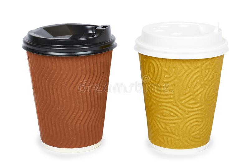 Take out coffee in thermo cup. Isolated on a white background. Disposable container, hot beverage royalty free stock images