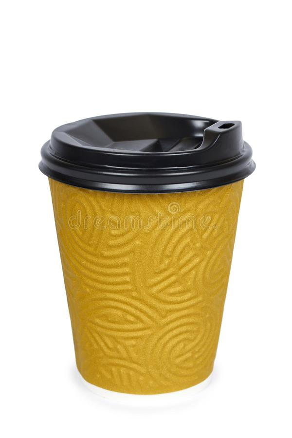 Take out coffee in thermo cup. Isolated on a white background. Disposable container, hot beverage stock images