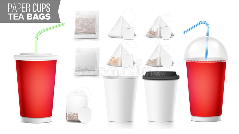 Take-out Ocher Paper Cups, Tea Bags Mock Up Vector. Big Small Coffee Cup. Cola, Soft Drinks Cup Template. Tube Straw. 3D. Realistic Blank Ocher Paper Cups Vector stock illustration