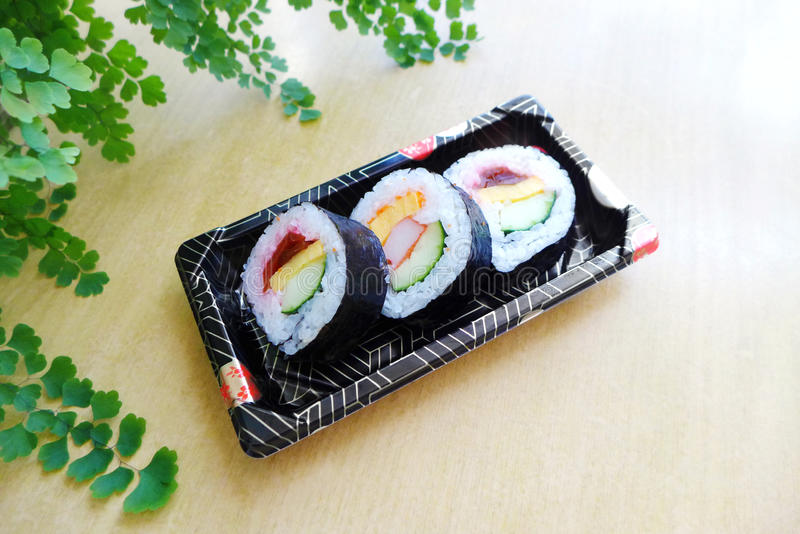 Take out sushi snack platter to go royalty free stock photos