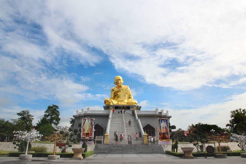 Take Photo beautiful buddish image call Luang Poo Tim and cloundy sky at Wat Lahan Rai. royalty free stock photo