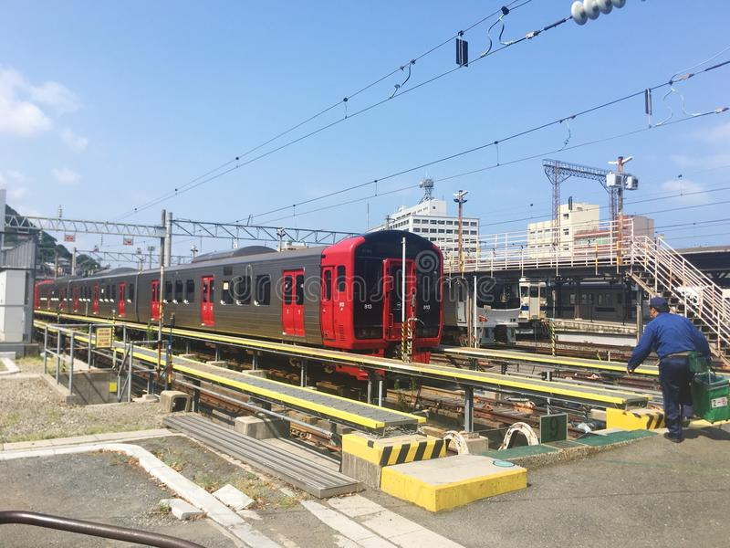 The train in Mojikau station royalty free stock photo