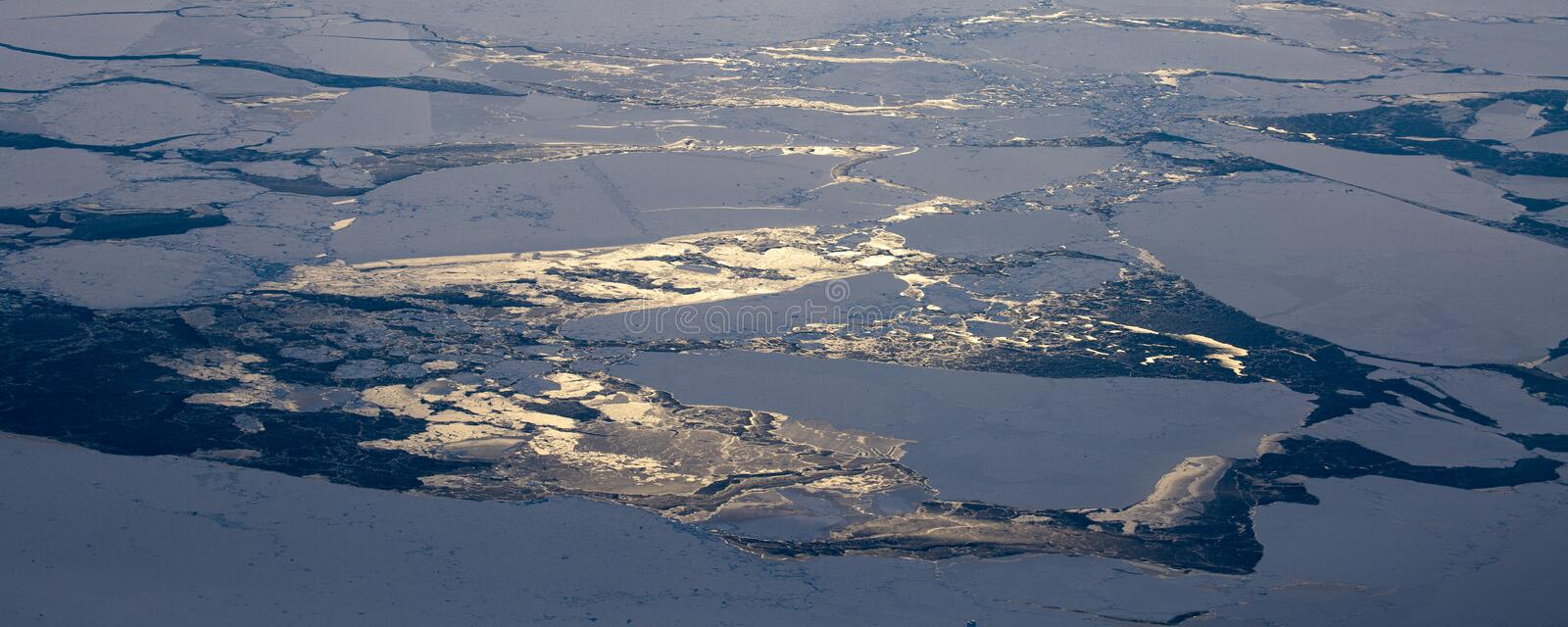 Take a picture of the ice on the bering strait(19). The bering strait is located in the high latitudes, cold weather, many storms and fog, especially royalty free stock photo